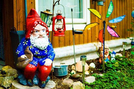 Garden Gnome, Dwarf, Flowers Dwarf, Funny, Cute, Figure