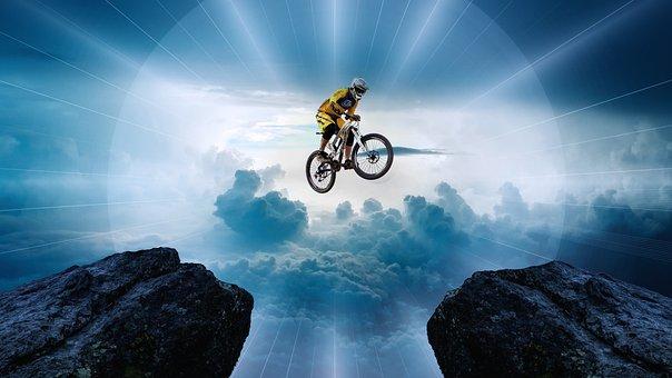 Mountain Bike, Jump, Friends, Courage, Daring, Risk