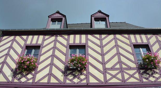 House Old, Timber-framed Windows Flowered, Village