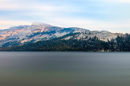 Yosemite, Lake, Mountains, Landscape, Stones, Clouds