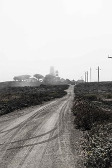 Lighthouse, Fog, Booked, Pacific, Usa, America