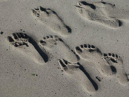 Footprints, Sand, Beach, Traces, Prints
