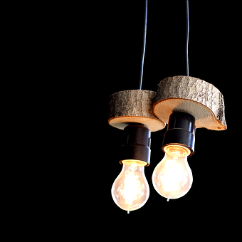 Light, Lamps, Light Bulbs, Wood Slices, Current