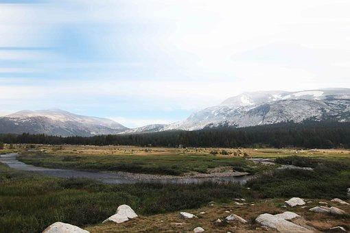 Yosemite, Mountains, Landscape, Stones, Lake, Clouds
