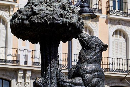Spain, Madrid, Statue, Coat Of Arms, Bear