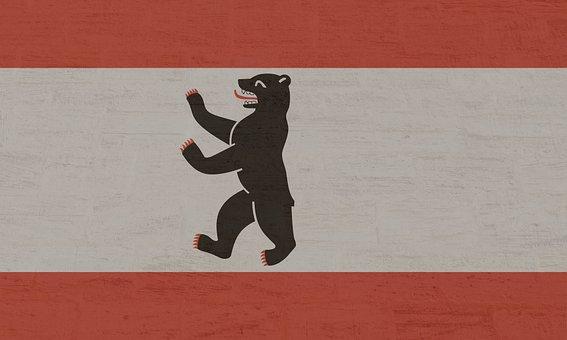 Country Flag, Berlin, Berlin Bear, Berliner Bär, White