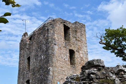 Castle Ruins, Blue Sky, Stones, High Ground, Sin I
