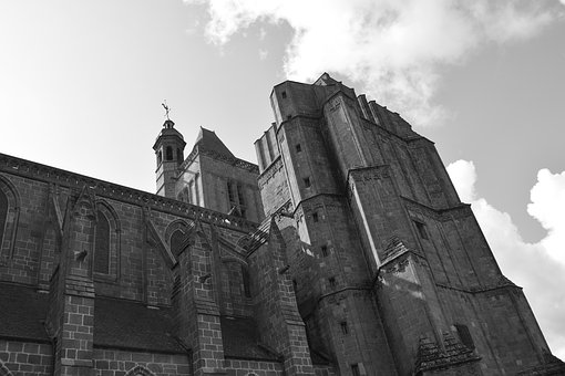 Cathedral Of Dol De Bretagne, Photo Black White