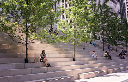 Chicago, Stairs, Riverwalk, Downtown, City, Staircase
