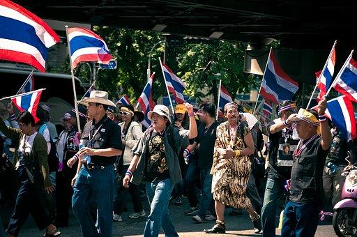 Thailand, Bangkok, City, Thai, Protest, Flag, Crisis