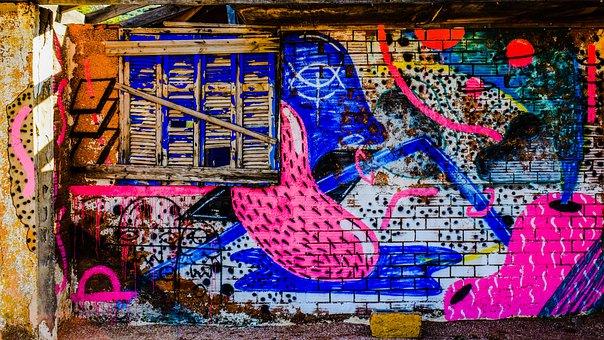 Wall, Damaged, Graffiti, Decay, Grungy, Grunge, Colors