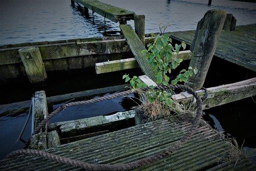 Boardwalk, Break Up, Morsch, Water, Away, Wood, Decay