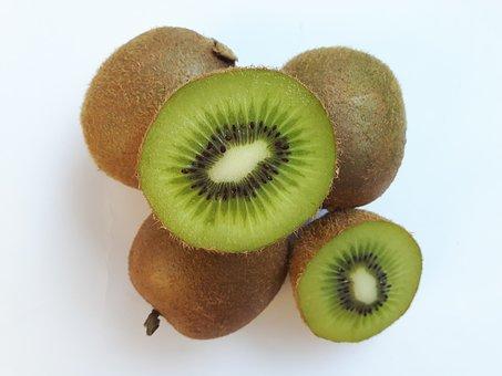 Fruit, Kiwi, Eating, Green, White, Vitamins, Nutrition