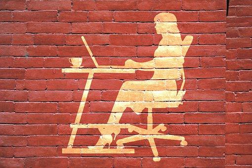 Art, Wall, Woman, Laptop, Business, Working, Light