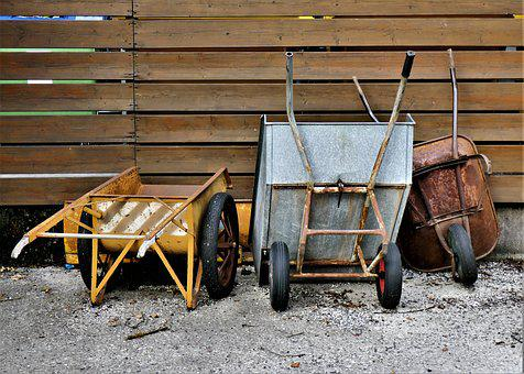 Wheelbarrows, Mature, Wheel, Transport, Stainless, Old