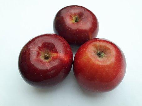 Fruit, Apples, Eating, Red, White, Vitamins, Nutrition
