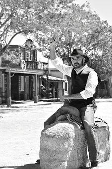 Cowboy, Travel, Western, American, Black And White