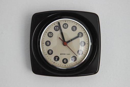 Clock, Retro, Wall, Black, Vintage, Time, White, Hour