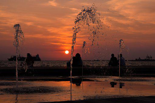 Fountain, Sunset, Dusk, Afternoon, Promenade, People