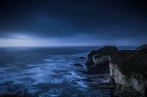 Blue, Cliffs, Desperate, Depression, Thoughts, Horizon
