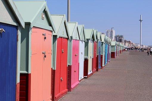 Hove, Brighton, Color, Hove Huts, Cottages, Beach, Sea