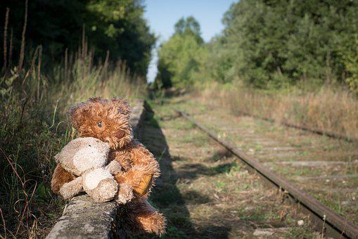 Old, Teddy, Bear, Lonely, Childhood, Loneliness, Rail