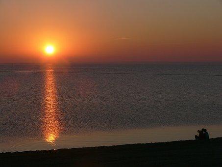 Sunset, Pair, Love, Feeling, Human, People, North Sea