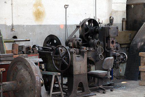 Workshop, Metal, Metalworking, Machines, Railway, Iron