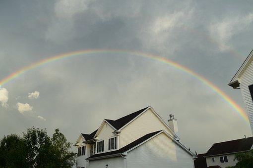 Rainbow, House, Rain, Nature, Sky