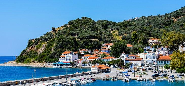 Greece, Skopelos, Loutraki, Port, Village, Island