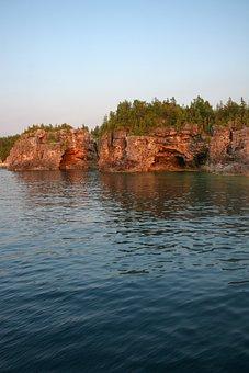 Coast, Cliff, Rocks, Shore, Lake, Sunset, Georgian Bay