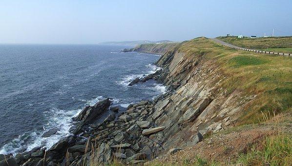 Coast, Cliff, Rocks, Shore, Lake, Sunset, Nova Scotia