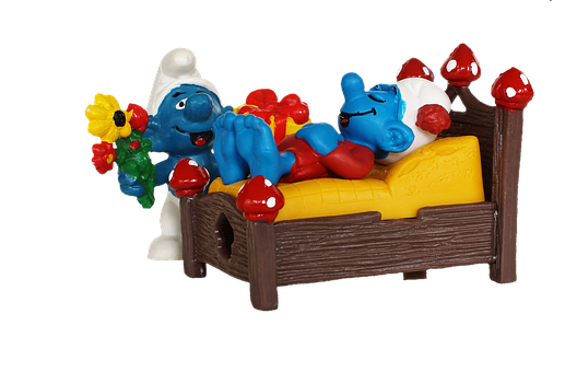 Smurf, Bed, Sleep, Tired, Surprise, Gift, Arouse