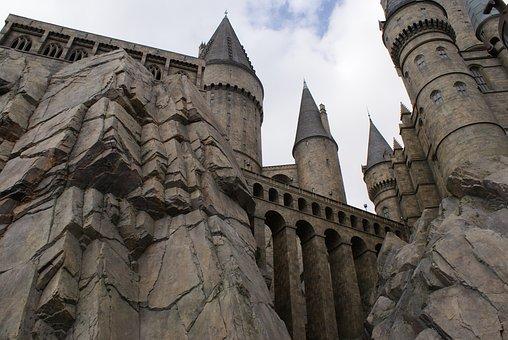 Castle, Fantasy, Hogwarts, Cliff, Corridors