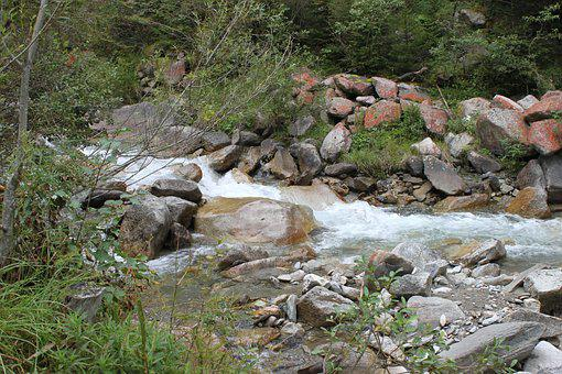 Water-mountain Stream, Bach, Nature, Stones