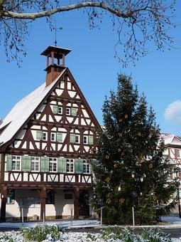 Stuttgart, Uhlbach, Town Hall, Winter, Christmas