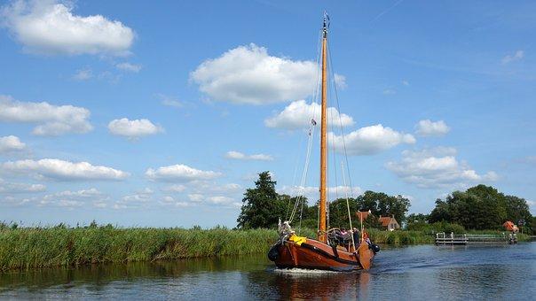 Sailing Boat, Flat Bottom, Boating, River, Boat, Ship