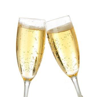 Champagne, Brindisi, White Background, Celebration