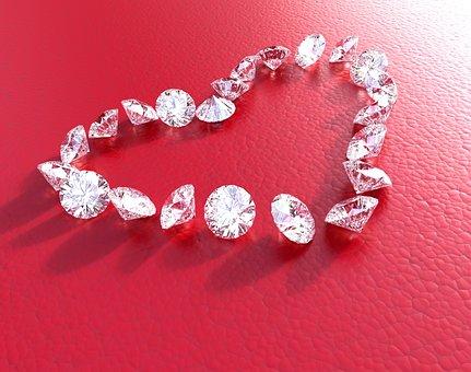 Diamonds, Heart, White, Love, Valentines, Diamond, Red