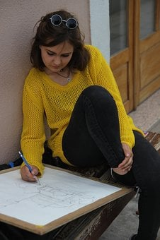 Girl, Drawing, Nature, Yellow, Student, Architecture