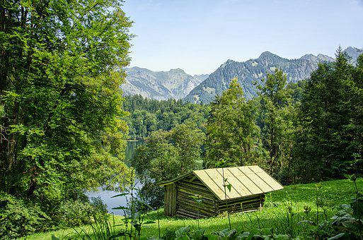 Allgäu, Oberstdorf, Lake, Mountains, Forest, Trees