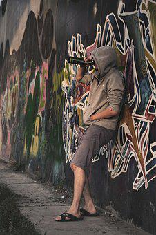 Man, Guy, On The Street, Graffiti, Graffiti Wall