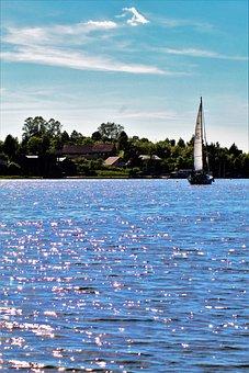 Lithuania, Trakai, Sail, Sea, Boot, Water, Shiny