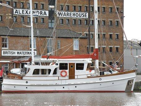 Boat, Quay, Warehouse, River