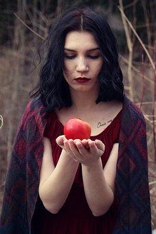 Apple, Girl, Wild, Scarf, Black, Hair, Snow, White