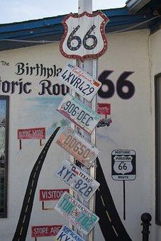 Usa, Arizona, Seligman, Car License Plates, Route66
