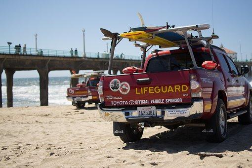 Los Angeles, Life-saving, Auto, Beach, Manhattan Beach