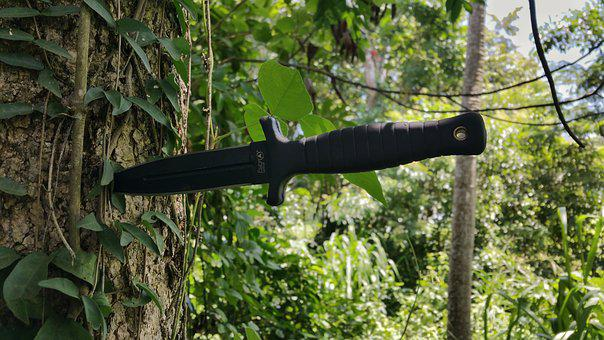 Boot Knife, Stab, Black, Blade, Tree's, Vines, Leaves