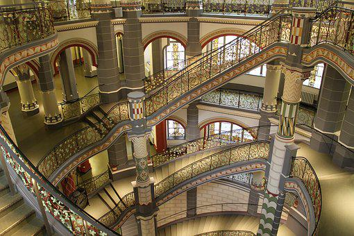 Germany, Saxony-anhalt, Hall, District Court, Staircase