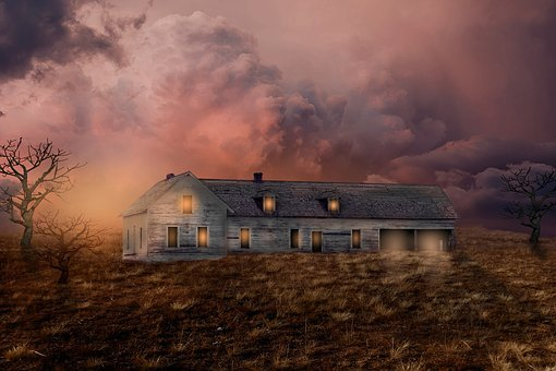 Home, Board House, Old House, Meadow, Clouds, Old